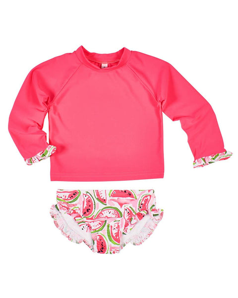 Coral Rash Guard Suit with Watermelon Print Bottoms - Florence Eiseman
