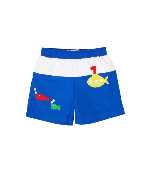Royal Swim Trunks with Submarine Applique - Florence Eiseman