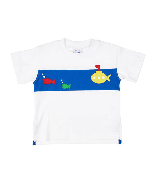 Boys T Shirt with Appliqued Submarine and Fish - Florence Eiseman