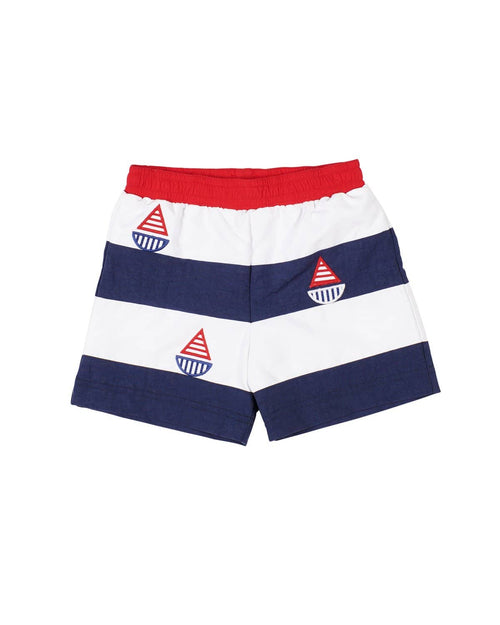 White/Navy/Red Swim Trunk with Sailboats - Florence Eiseman