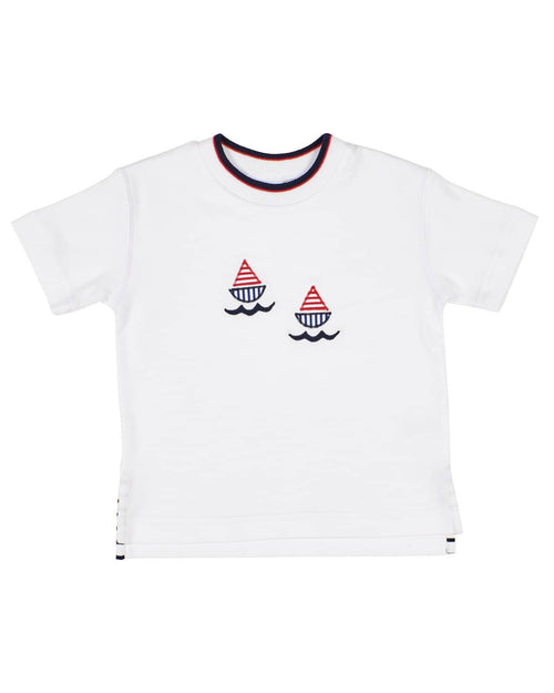 T-shirt with Appliqued Sailboats - Florence Eiseman
