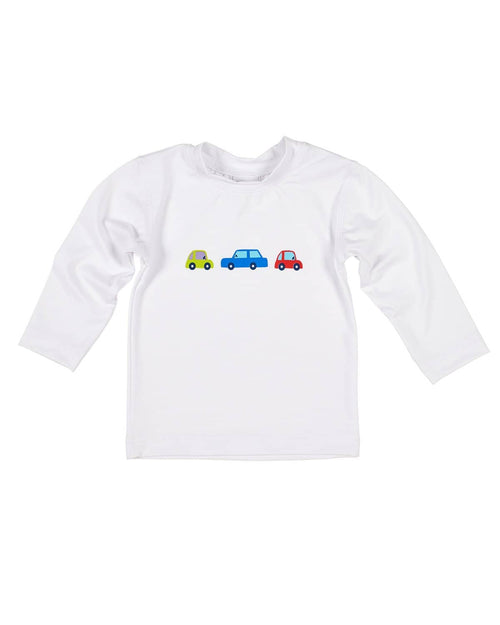 White Rashguard with Printed Cars - Florence Eiseman