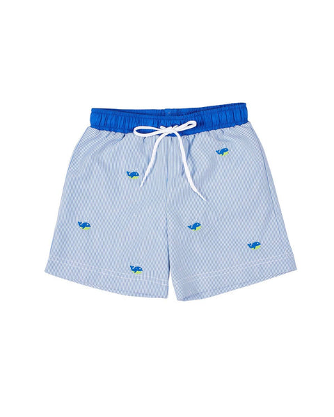 Boys Swim Trunk with Embroidered Whales - Florence Eiseman