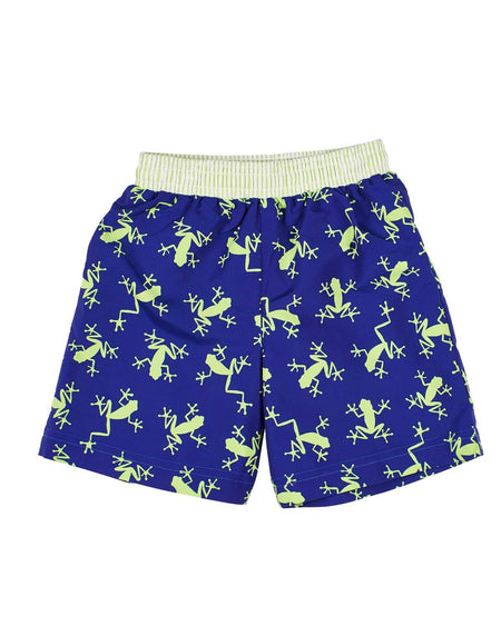 White/Navy/Red Swim Trunk with Sailboats