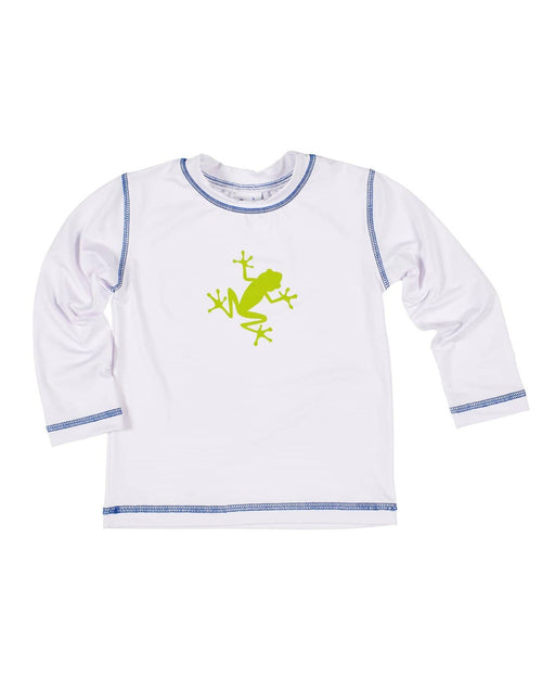 White Rashguard with Royal Stitching and Printed Frog - Florence Eiseman