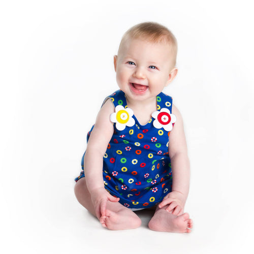 Girls Lifesaver Onesie with Flower Shoulders - Florence Eiseman