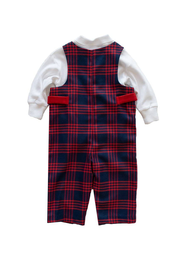 Navy and Red Plaid Boys Longall