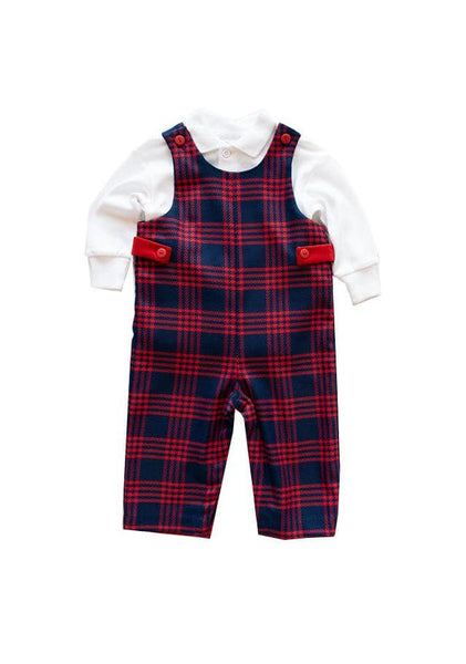fa547e010 Navy and Red Plaid Boys Longall