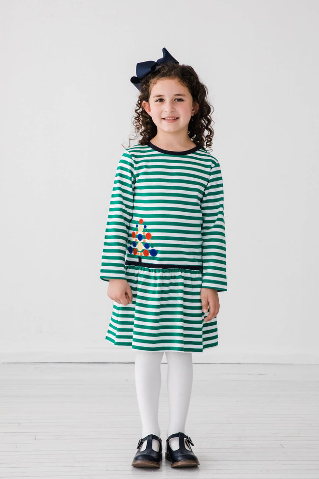 Green Stripe Dress with Circle Tree Applique