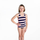 Tween Stripe Racer Back Swimsuit