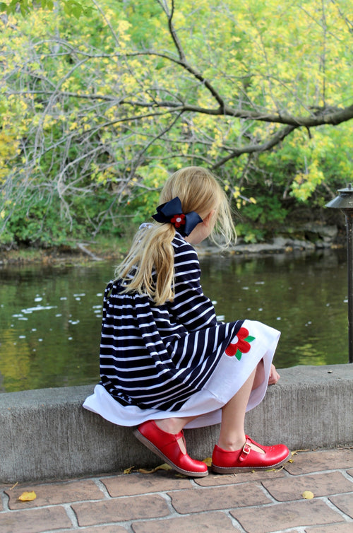 Navy Stripe Knit Dress With Flowers