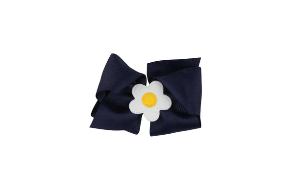 Navy Wee Ones Hair Bow with White and Yellow Flower - Florence Eiseman
