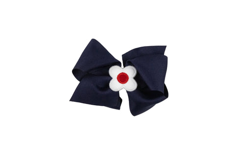 Navy Wee Ones Hair Bow with White and Red Flower
