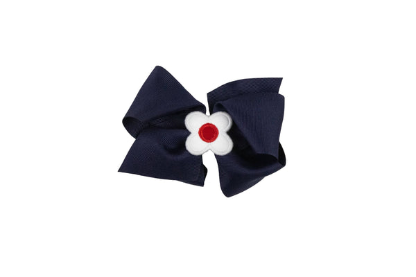 Navy Wee Ones Hair Bow with White and Red Flower - Florence Eiseman