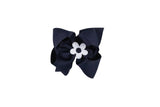 Navy Wee Ones Hair Bow with White and Navy Blue Flower - Florence Eiseman