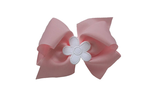 Pink Wee Ones Hair Bow with White Flower