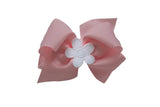 Pink Wee Ones Hair Bow with White Flower - Florence Eiseman