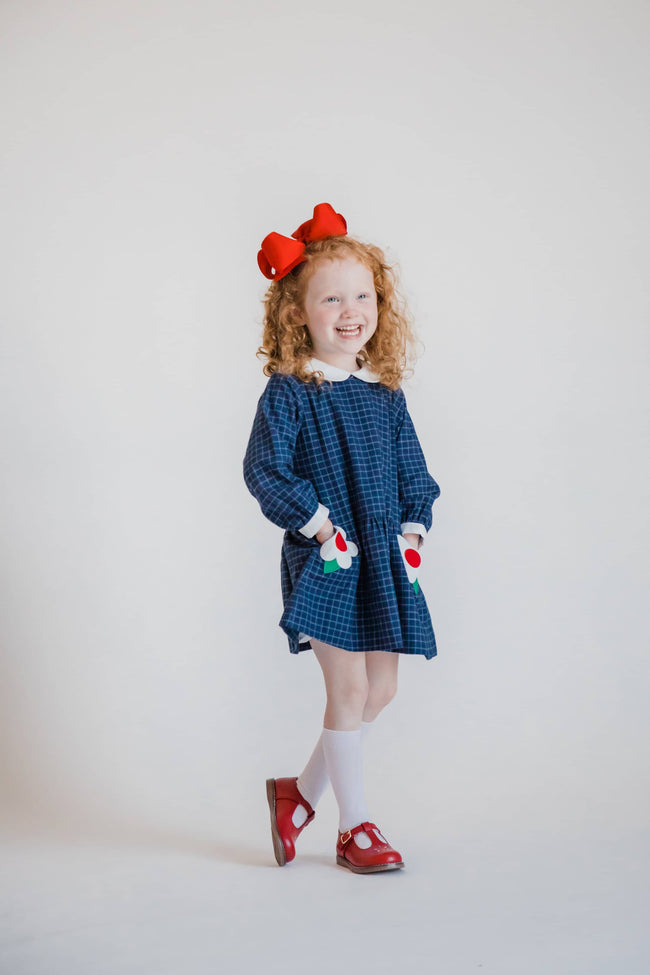 Tattersall Girls Dress with Flower Pockets