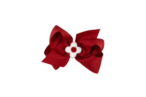 Red Wee Ones Hair Bow with White and Red Flower