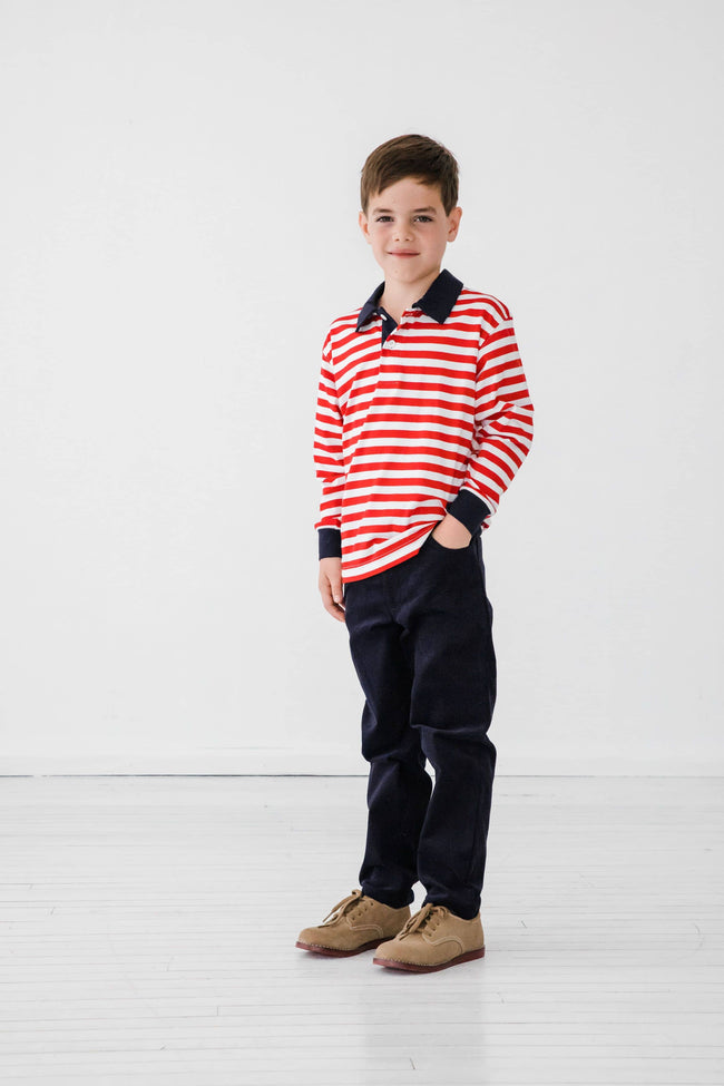 Red and White Stripe Knit Polo Shirt - Florence Eiseman