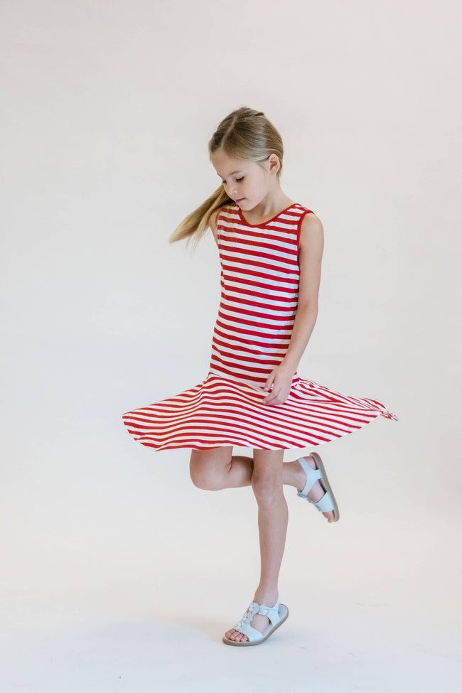 Red Stripe Dress with Back Detail