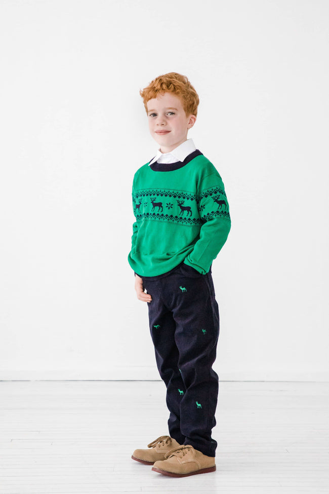 Navy Corduroy Pants with Embroidered Reindeer