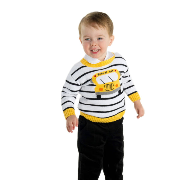 Stripe Sweater with School Bus