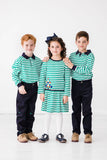 Green Stripe Knit Polo Shirt