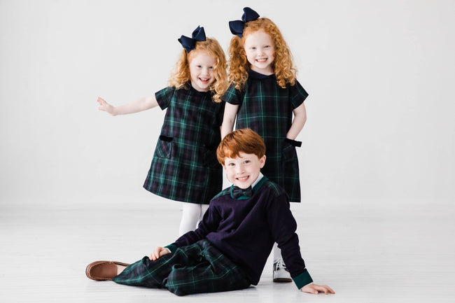 Navy/Green Tartan Plaid Dress