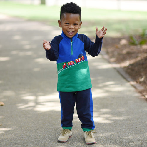 Boys Train Shirt in French Terry on Model