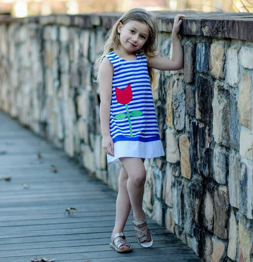 Royal Stripe Knit Dress With Tulip Pocket