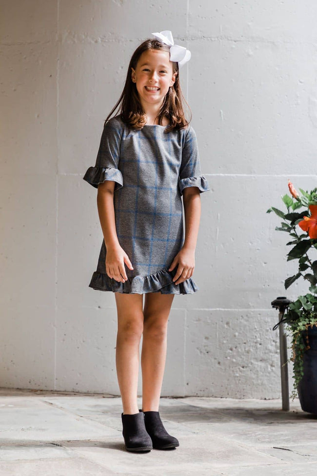Plaid Dress with Ruffle Hem