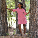 Deep Pink Striped Casual Striped Dress for Tween Girls on Model