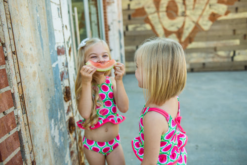 Pink/Green Watermelon Print Tankini