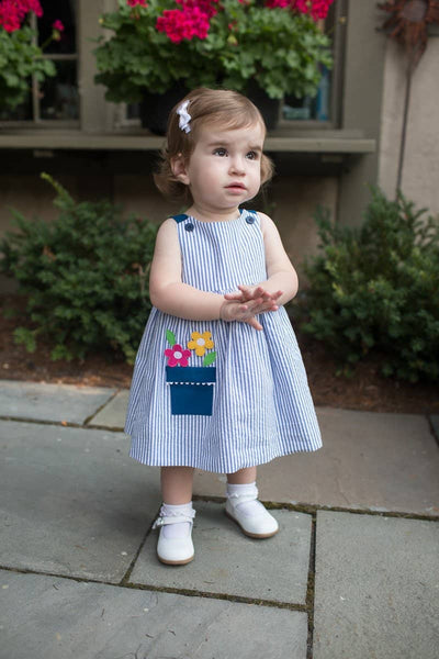 Stripe Seersucker Dress and Bloomer with Flower Pot Pocket