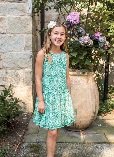 Tween Green and Ivory Ribbon Lace Dress - Florence Eiseman