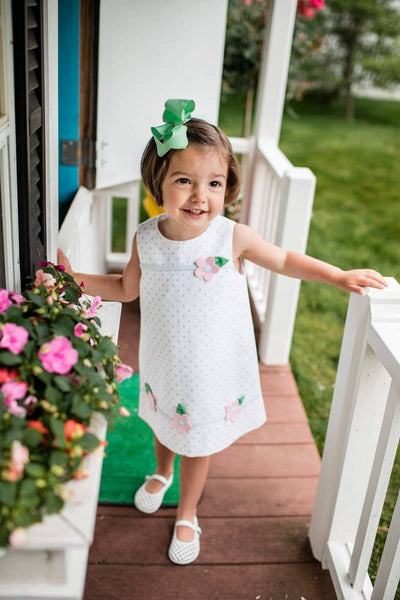 White/Gray Polka Dot Dress with Appliqued Flowers