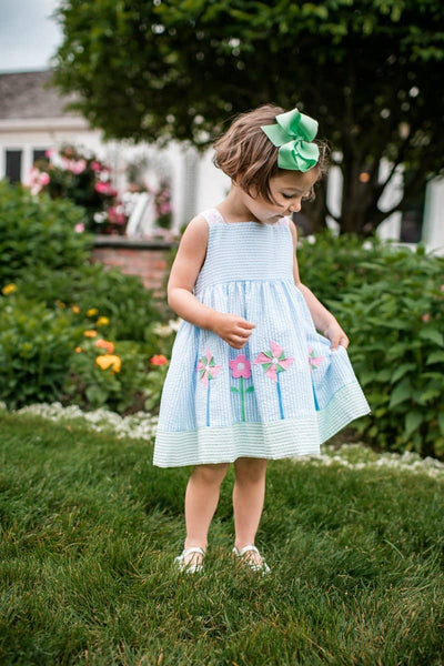 Pastel Seersucker Pinwheel Dress