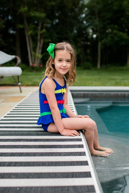 Bright Navy Swimsuit with Multi Bands and Bows - Florence Eiseman