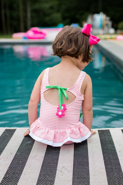 Pink Stripe Seersucker Swimsuit