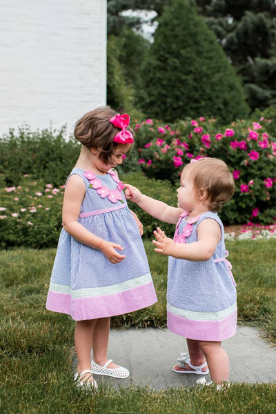 Bright Seersucker Dress and Bloomer Set with Flowers
