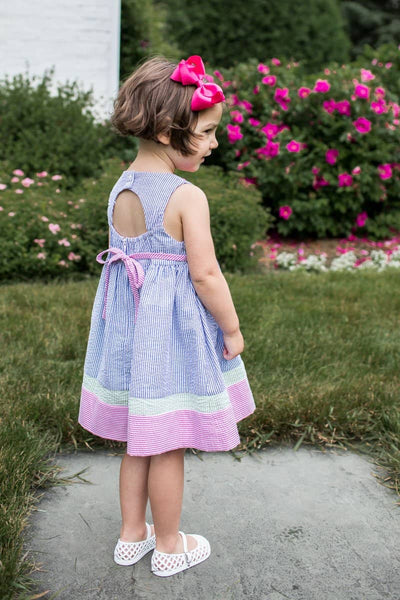 Bright Seersucker Waist Dress with Applique Flowers