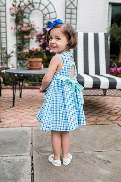 Blue and Green Seersucker Dress with Applique Flowers