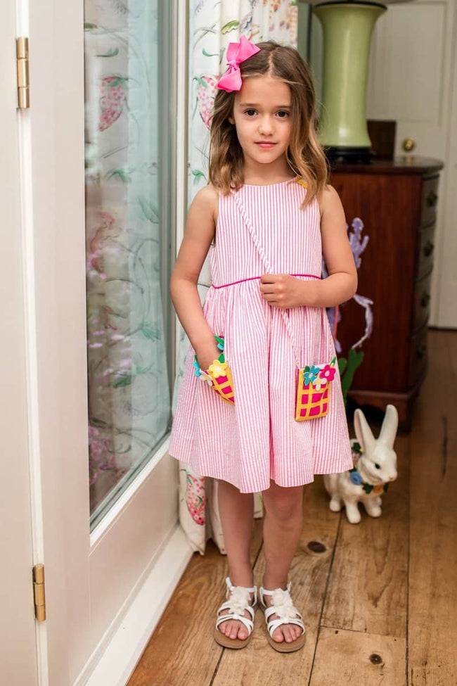Seersucker Dress with Flower Basket Pocket and Purse