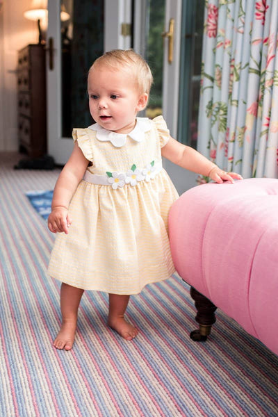 Yellow Raised Stripe Dress and Bloomer with Flowers
