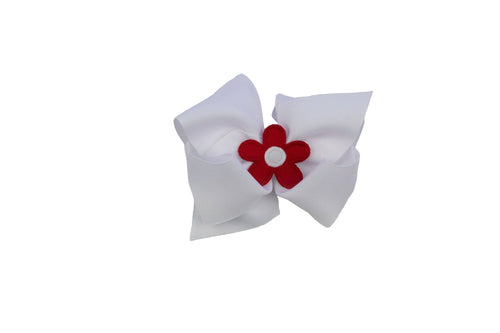 White King Wee Ones Hair bow with Red Flower