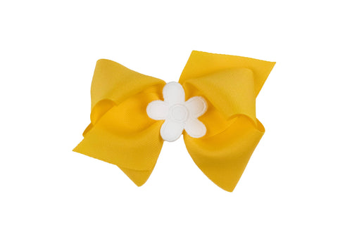 Yellow Wee Ones Hair Bow with White Flower