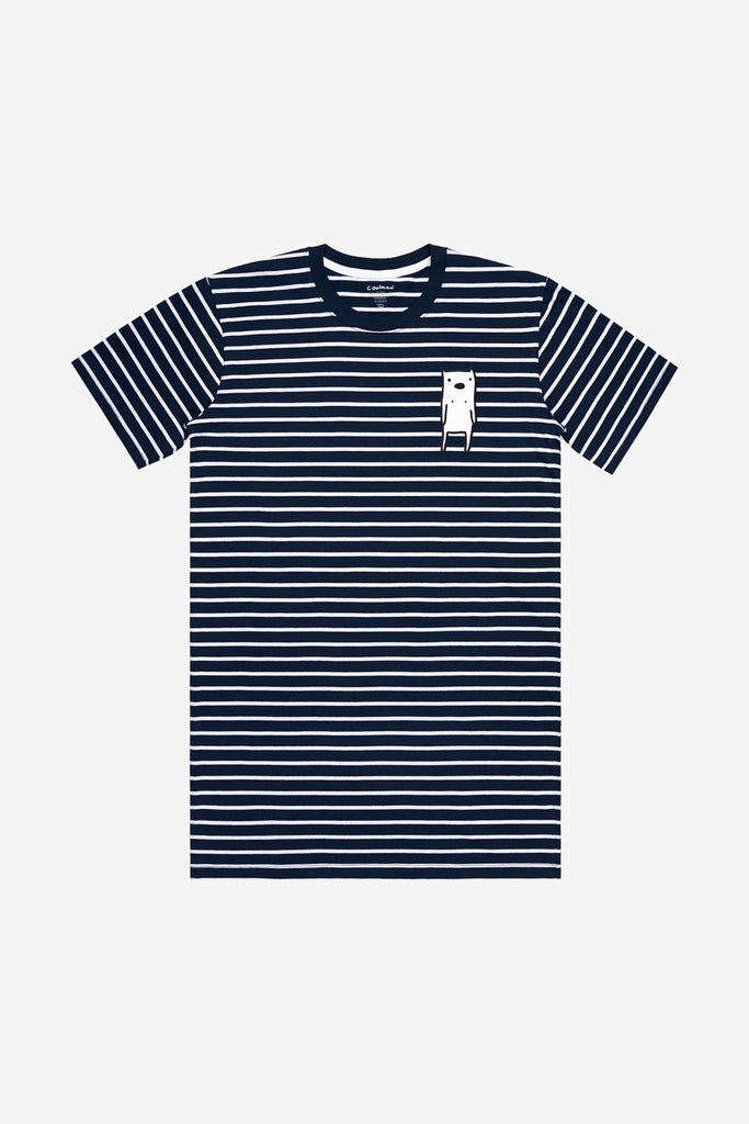 Ur Special Embroidered Navy/White Striped Tee