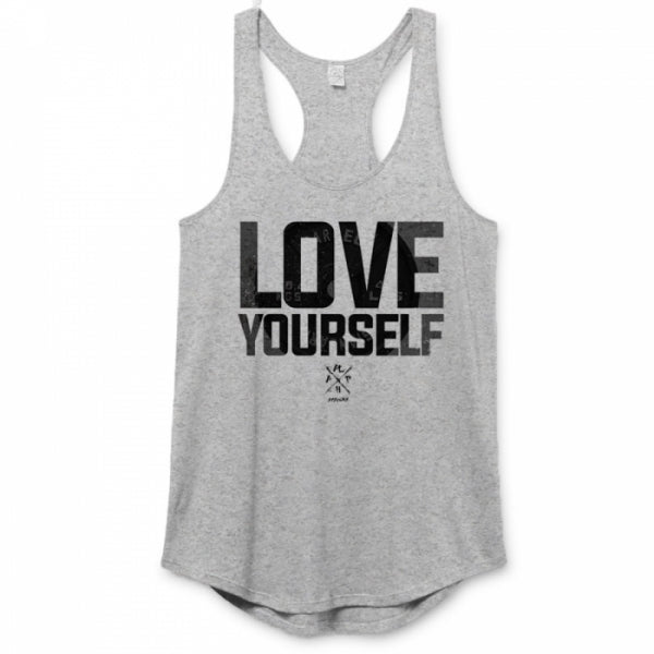 Love Yourself • Women's Racerback Tanktop • Heather Grey