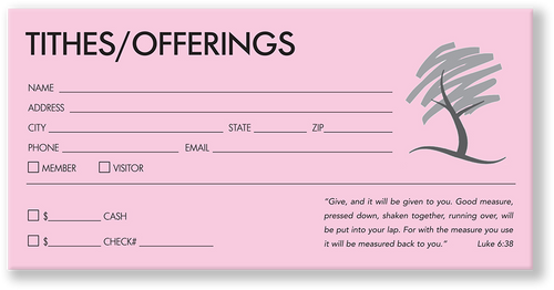 Church Offering Envelope Pink